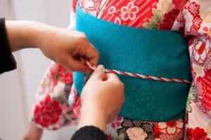 Wearing kimono